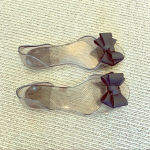 Cute Jellies w/ Black Bows -NWOB
